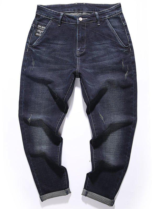 Fashion Tapered Fit Zip Fly Graphic Jeans