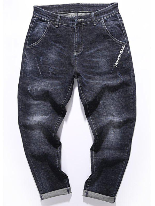 Trendy Tapered Fit Zip Fly Graphic Print Jeans
