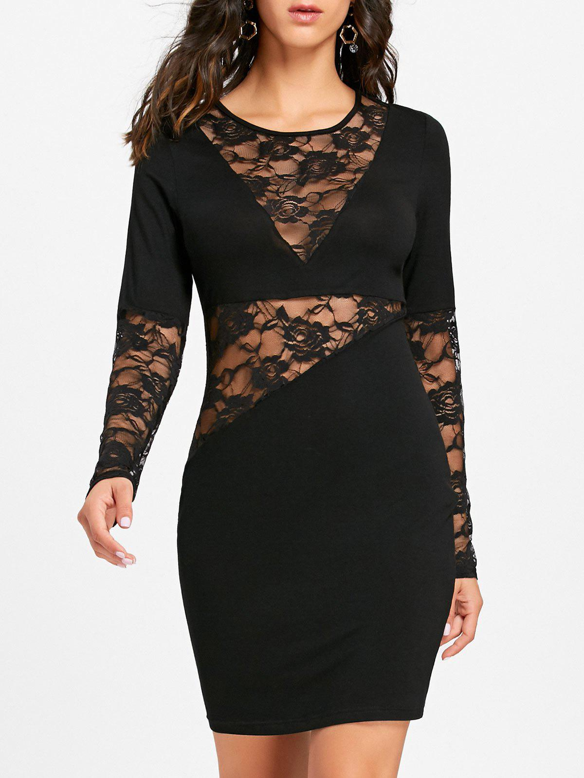Shops Lace Insert Sheer Long Sleeve Fitted Dress