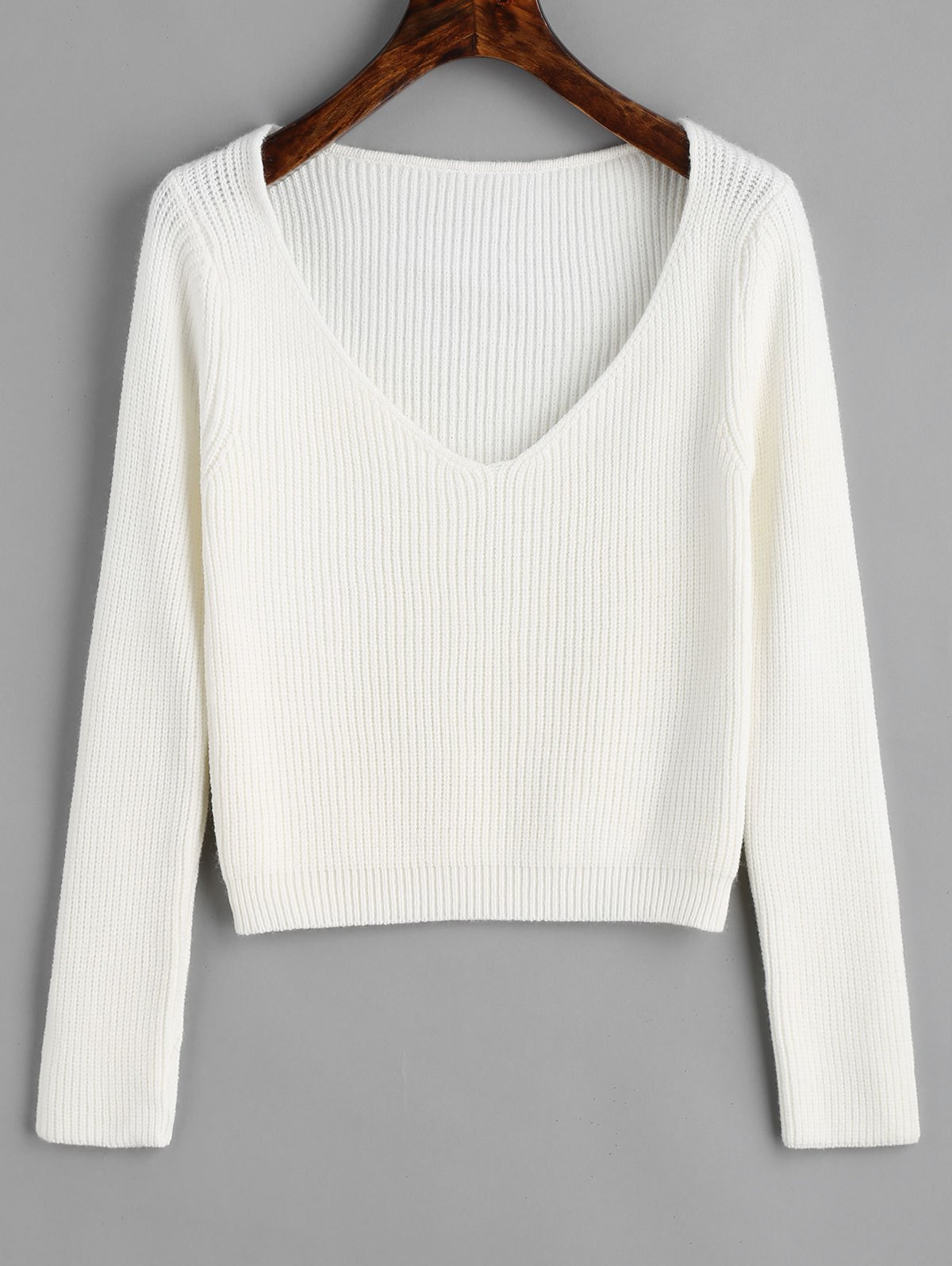 Outfits V Neck Cropped Pullover Sweater