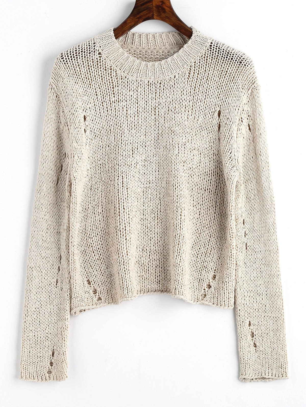 Buy Ripped Hollow Out Pullover Sweater