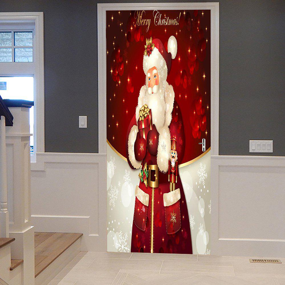 Christmas Santa Claus Pattern Door Cover StickersHOME<br><br>Size: 38.5*200CM*2PCS; Color: RED; Wall Sticker Type: Plane Wall Stickers; Functions: Decorative Wall Stickers; Theme: Christmas; Pattern Type: Letter,Santa Claus; Material: PVC; Feature: Removable; Weight: 0.4500kg; Package Contents: 2 x Door Stickers (Sheet);