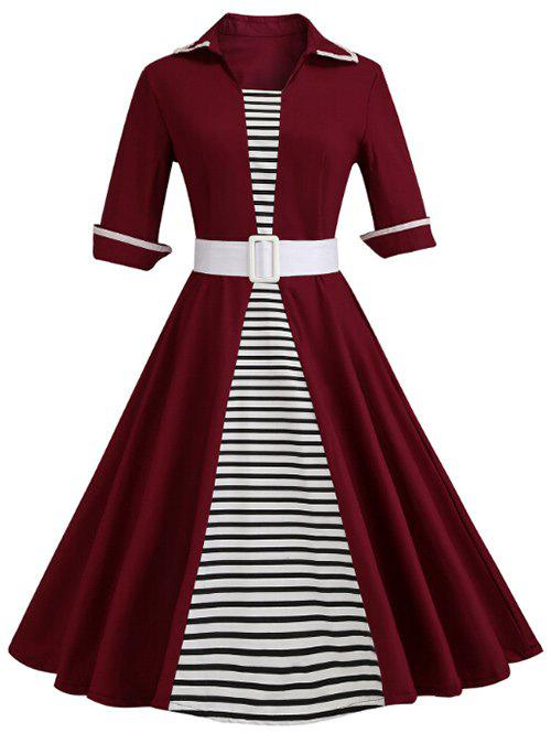 Latest Shirt Collar Striped Panel A Line Dress