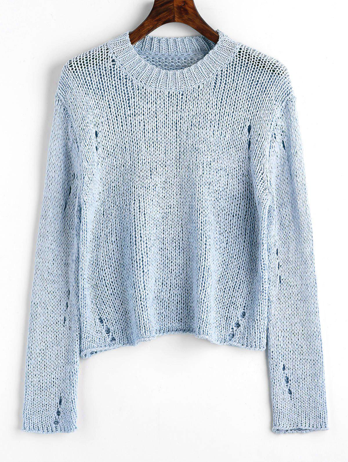 Sale Ripped Hollow Out Pullover Sweater