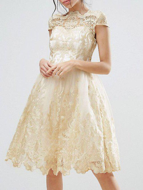 Hot Lace Panel A Line Tulle Party Dress