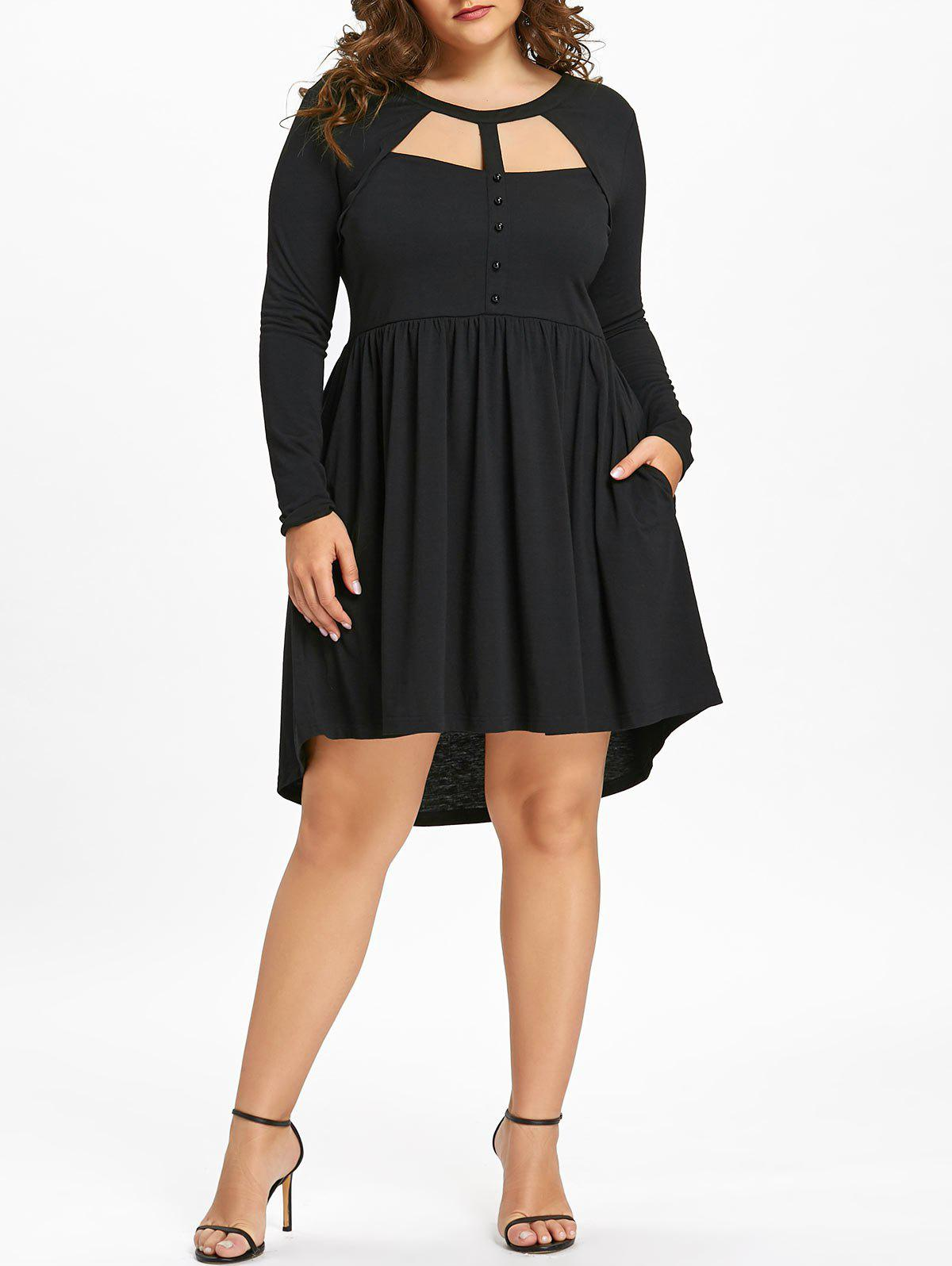 Fancy Plus Size Mesh Trim Cutout Long Sleeve Dress