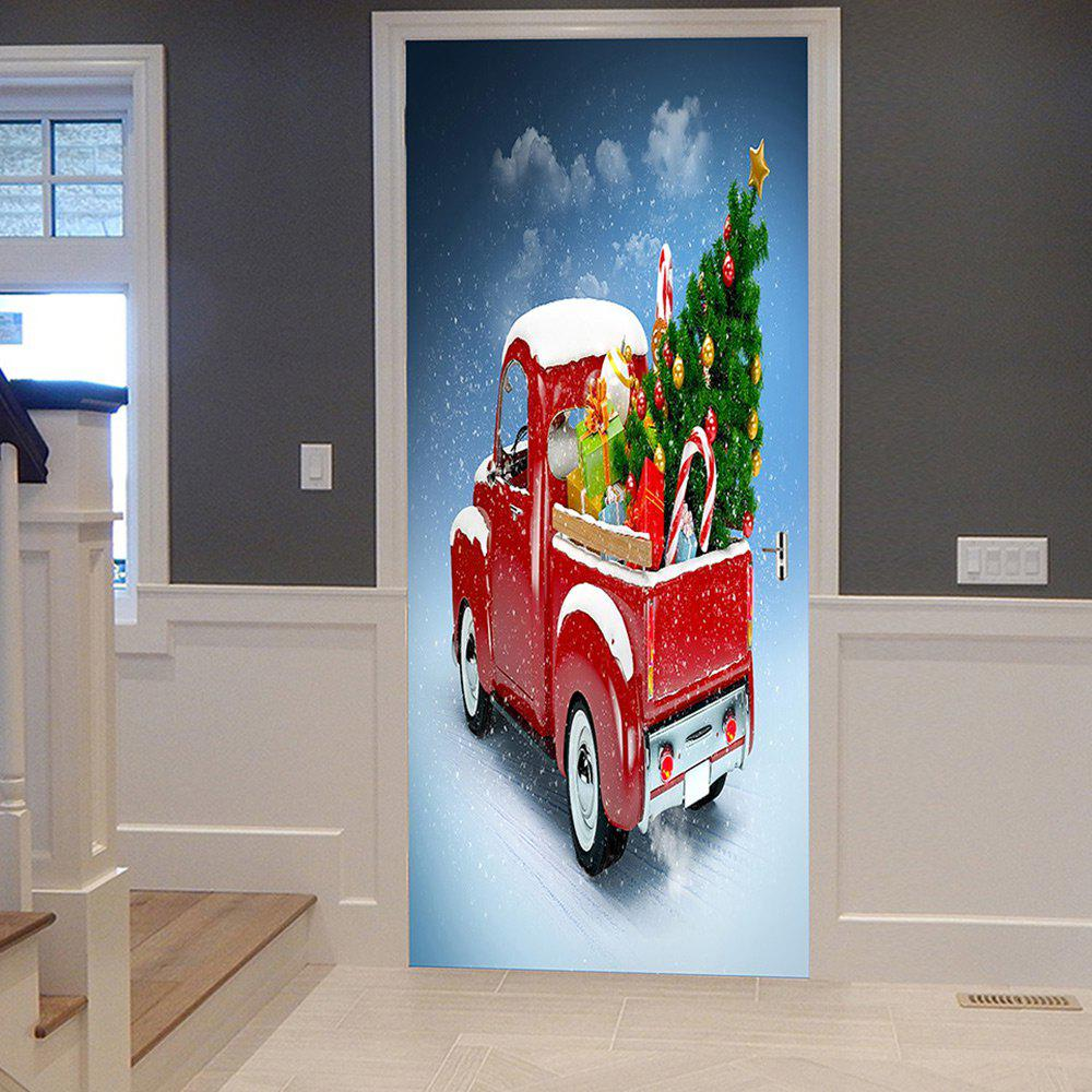 Christmas Car Tree Pattern Door Cover StickersHOME<br><br>Size: 38.5*200CM*2PCS; Color: RED; Wall Sticker Type: Plane Wall Stickers; Functions: Decorative Wall Stickers; Theme: Christmas; Pattern Type: Christmas Tree; Material: PVC; Feature: Removable; Weight: 0.4500kg; Package Contents: 2 x Door Stickers (Sheet);