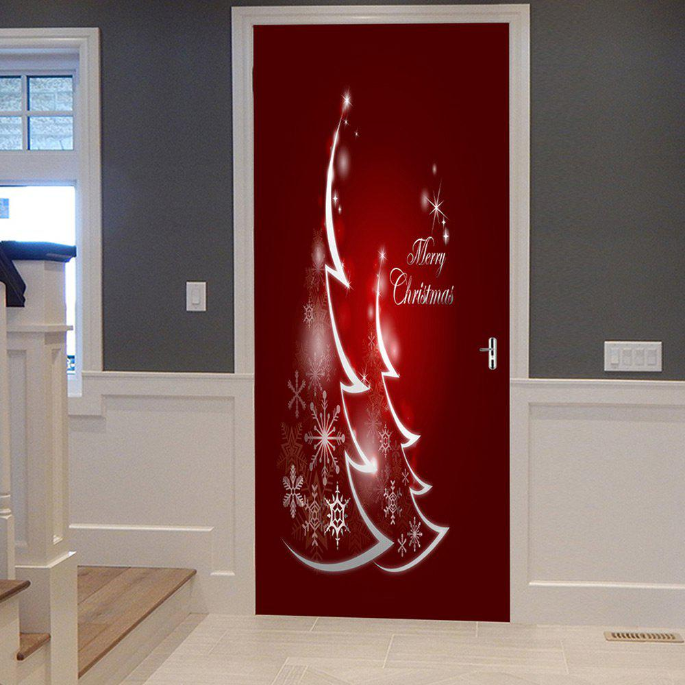 Unique Christmas Snowflakes Tree Pattern Door Cover Stickers