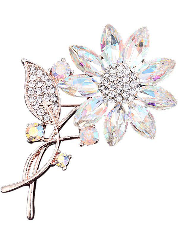 Cheap Faux Crystal Rhinestone Leaf Sunflower Brooch