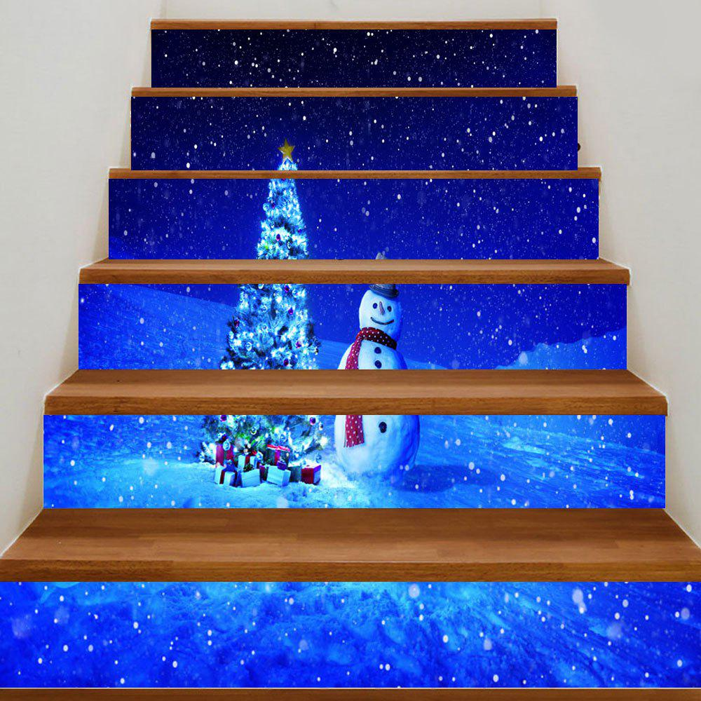 Snowy Night Snowman Christmas Tree Print Decorative Stair StickersHOME<br><br>Size: 100*18CM*6PCS; Color: BLUE; Wall Sticker Type: 3D Wall Stickers; Functions: Stair Stickers; Theme: Christmas; Pattern Type: Christmas Tree,Snowman; Material: PVC; Feature: Removable; Weight: 0.3500kg; Package Contents: 6 x Stair Stickers (Pcs);