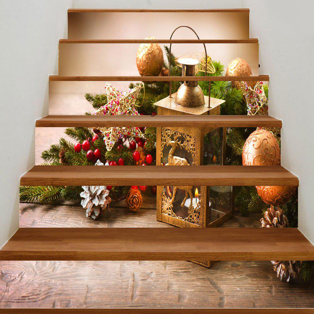 Christmas Candle Lantern Print DIY Decorative Stair StickersHOME<br><br>Size: 100*18CM*6PCS; Color: COLORMIX; Wall Sticker Type: 3D Wall Stickers; Functions: Stair Stickers; Theme: Christmas; Pattern Type: Ball,Plant,Wood Grain; Material: PVC; Feature: Removable; Weight: 0.3500kg; Package Contents: 6 x Stair Stickers (Pcs);