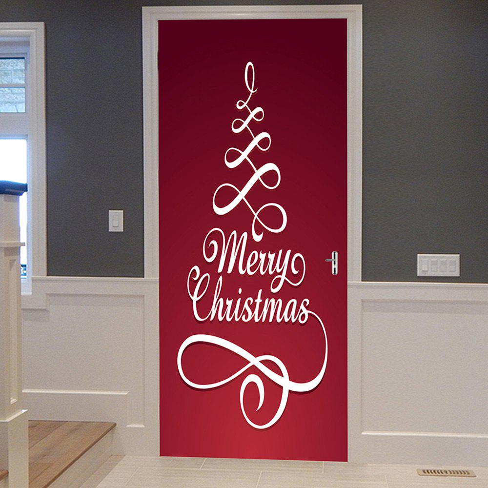 Merry Christmas Pattern Door Cover StickersHOME<br><br>Size: 38.5*200CM*2PCS; Color: RED; Wall Sticker Type: Plane Wall Stickers; Functions: Decorative Wall Stickers; Theme: Christmas; Pattern Type: Letter; Material: PVC; Feature: Removable; Weight: 0.4500kg; Package Contents: 2 x Door Stickers (Sheet);