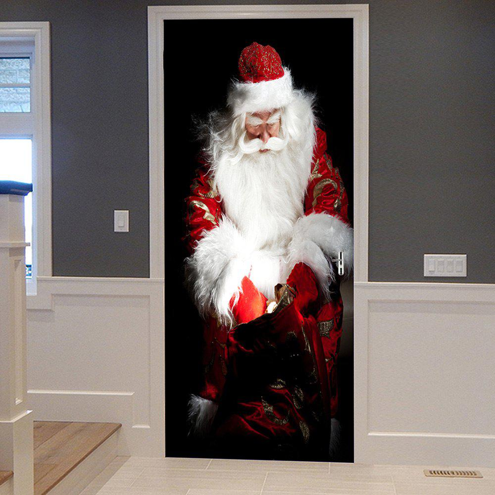 Christmas Santa Gift Bag Pattern Door Cover StickersHOME<br><br>Size: 38.5*200CM*2PCS; Color: WHITE; Wall Sticker Type: Plane Wall Stickers; Functions: Decorative Wall Stickers; Theme: Christmas; Pattern Type: Santa Claus; Material: PVC; Feature: Removable; Weight: 0.4500kg; Package Contents: 2 x Door Stickers (Sheet);