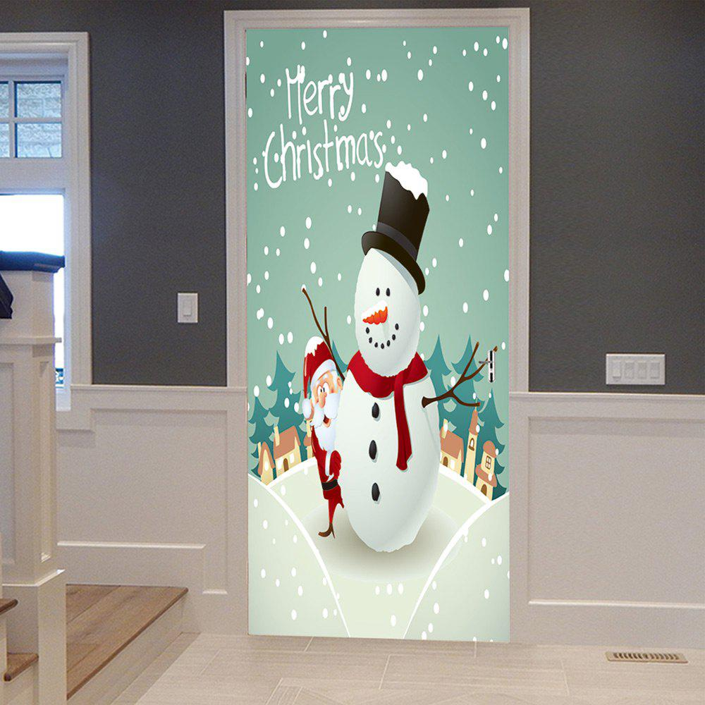 Christmas Snowman Santa Pattern Door Cover StickersHOME<br><br>Size: 38.5*200CM*2PCS; Color: WHITE; Wall Sticker Type: Plane Wall Stickers; Functions: Decorative Wall Stickers; Theme: Christmas; Pattern Type: Letter,Snowman; Material: PVC; Feature: Removable; Weight: 0.4500kg; Package Contents: 2 x Door Stickers (Sheet);