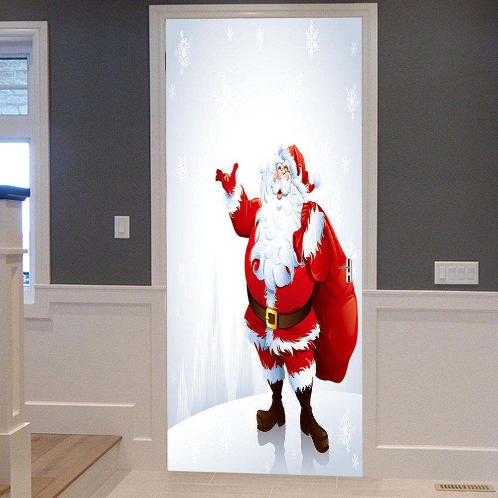Christmas Santa with Bag Pattern Door Cover StickersHOME<br><br>Size: 38.5*200CM*2PCS; Color: RED; Wall Sticker Type: Plane Wall Stickers; Functions: Decorative Wall Stickers; Theme: Christmas; Pattern Type: Santa Claus; Material: PVC; Feature: Removable; Weight: 0.4500kg; Package Contents: 2 x Door Stickers (Sheet);