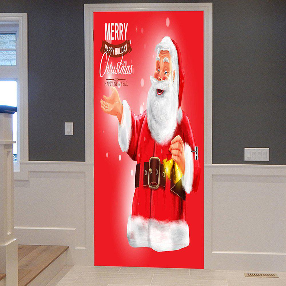 Christmas Santa Greetings Pattern Door Cover StickersHOME<br><br>Size: 38.5*200CM*2PCS; Color: RED; Wall Sticker Type: Plane Wall Stickers; Functions: Decorative Wall Stickers; Theme: Christmas; Pattern Type: Letter,Santa Claus; Material: PVC; Feature: Removable; Weight: 0.4500kg; Package Contents: 2 x Door Stickers (Sheet);