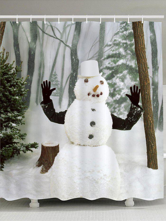 Waterproof Snow Forest Snowman Printed Shower CurtainHOME<br><br>Size: W59 INCH * L71 INCH; Color: WHITE; Products Type: Shower Curtains; Materials: Polyester; Pattern: Forest,Snowman; Style: Festival; Number of Hook Holes: W59 inch*L71 inch: 10; W71 inch*L71 inch: 12; W71 inch*L79 inch: 12; Package Contents: 1 x Shower Curtain 1 x Hooks (Set);