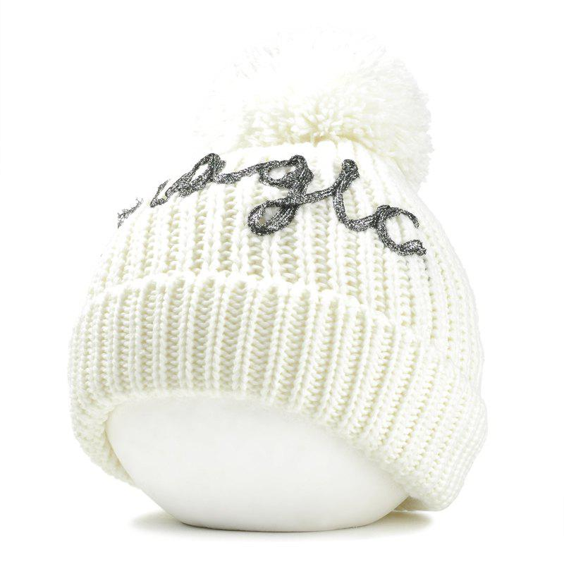 Latest Letter Pattern Embellished Fuzzy Ball Knitted Beanie