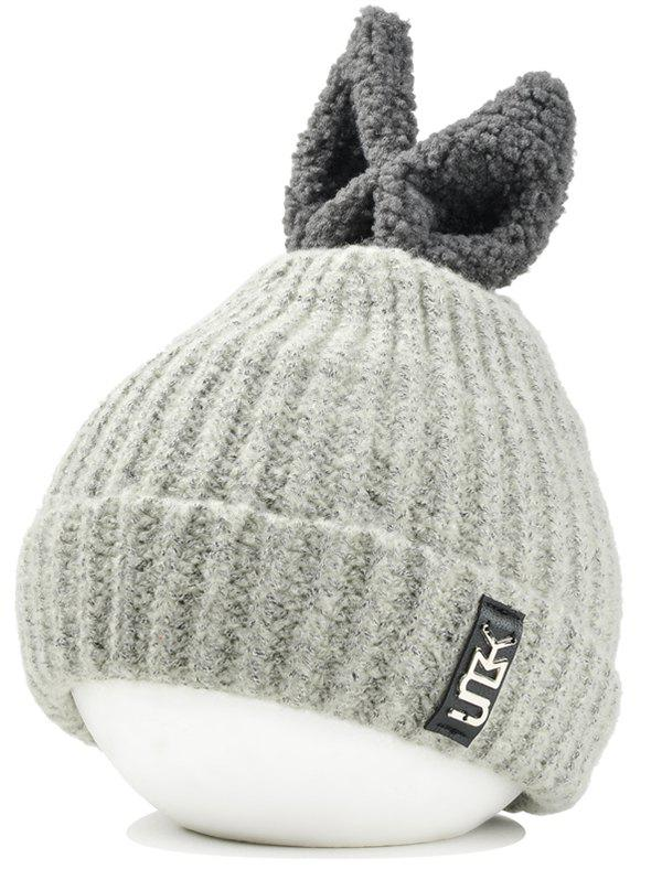 Buy Outdoor Rabbit Ear Embellished Flanging Knitted Beanie