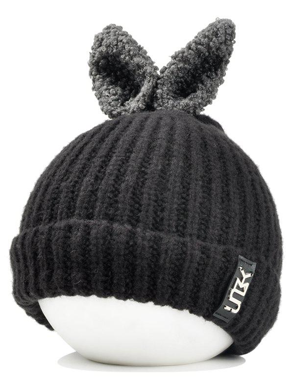 Cheap Outdoor Rabbit Ear Embellished Flanging Knitted Beanie