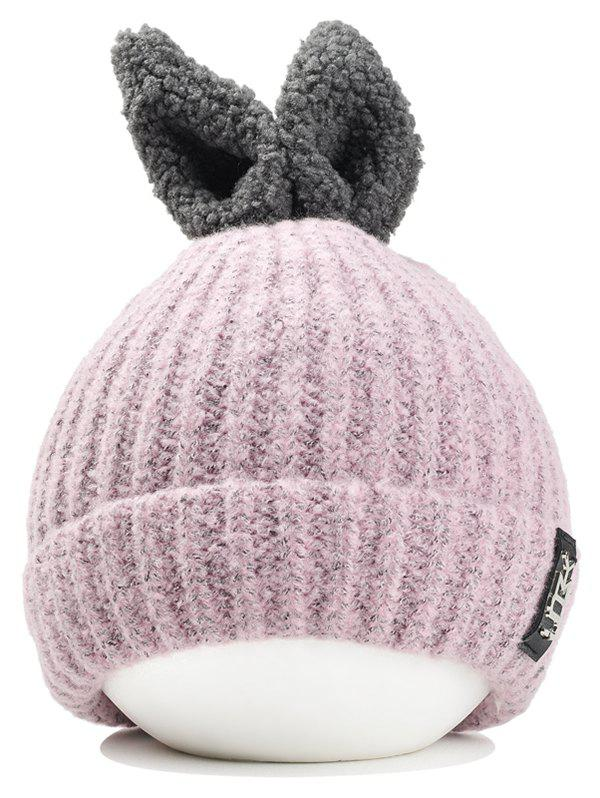 Discount Outdoor Rabbit Ear Embellished Flanging Knitted Beanie
