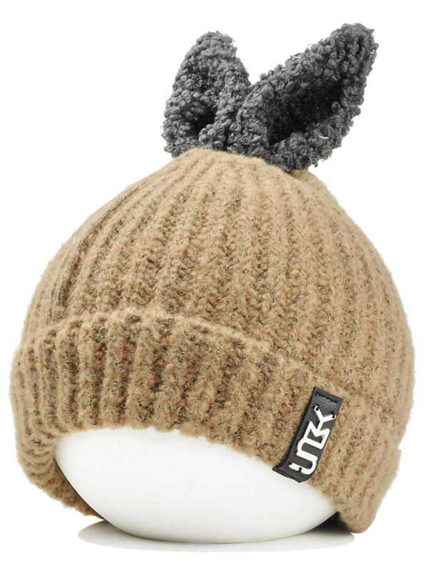 Best Outdoor Rabbit Ear Embellished Flanging Knitted Beanie