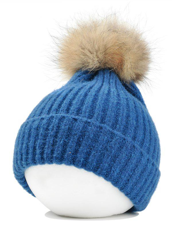 Buy Vintage Fuzzy Ball Embellished Flanging Lightweight Beanie