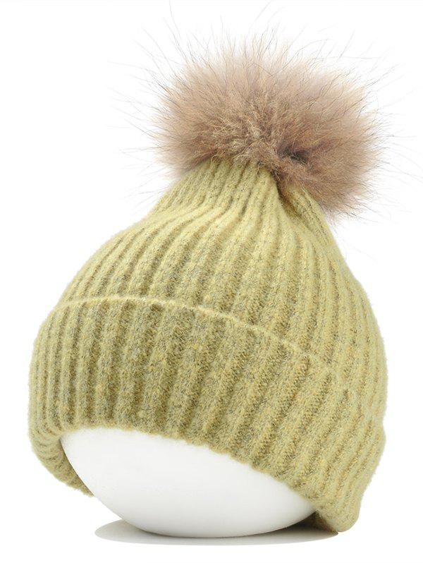 Best Vintage Fuzzy Ball Embellished Flanging Lightweight Beanie