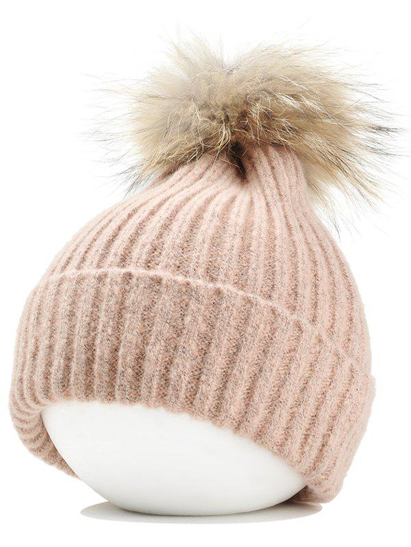 Unique Vintage Fuzzy Ball Embellished Flanging Lightweight Beanie