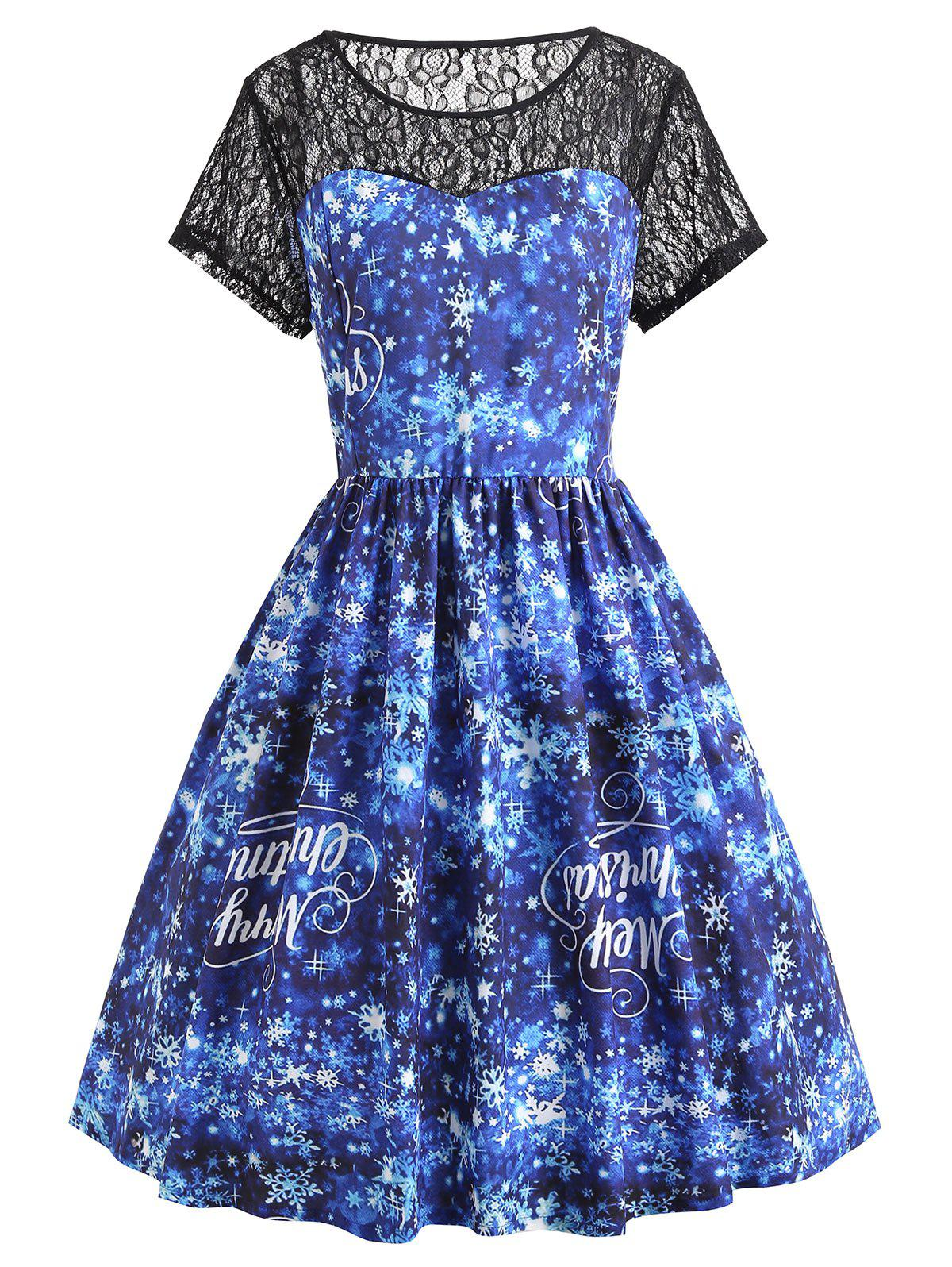 Shops Christmas Snowflake Letter Plus Size Lace Yoke Dress