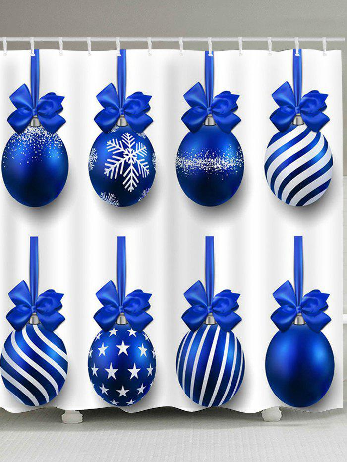 Buy Waterproof Christmas Blue Balls Printed Shower Curtain