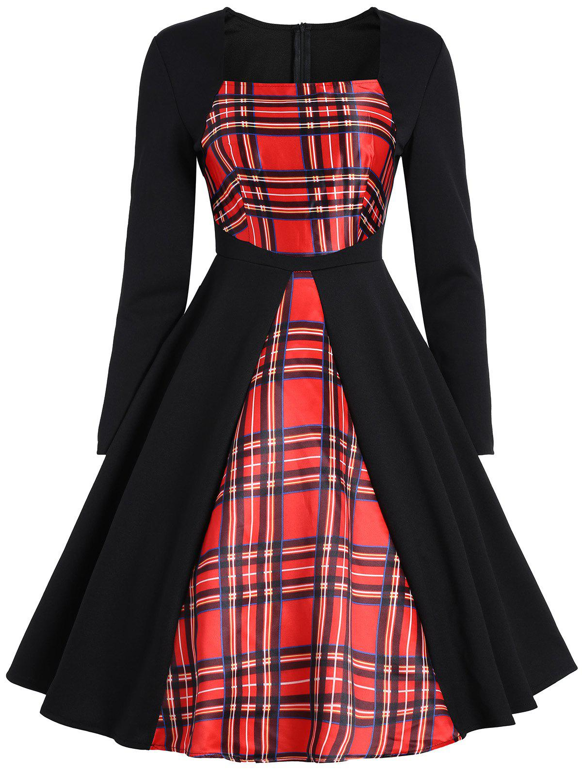 Vintage Long Sleeve Plaid Panel DressWOMEN<br><br>Size: M; Color: RED; Style: Vintage; Material: Polyester; Silhouette: A-Line; Dresses Length: Knee-Length; Neckline: Square Collar; Sleeve Length: Long Sleeves; Pattern Type: Plaid; With Belt: No; Season: Fall,Spring,Winter; Weight: 0.4000kg; Package Contents: 1 x Dress;