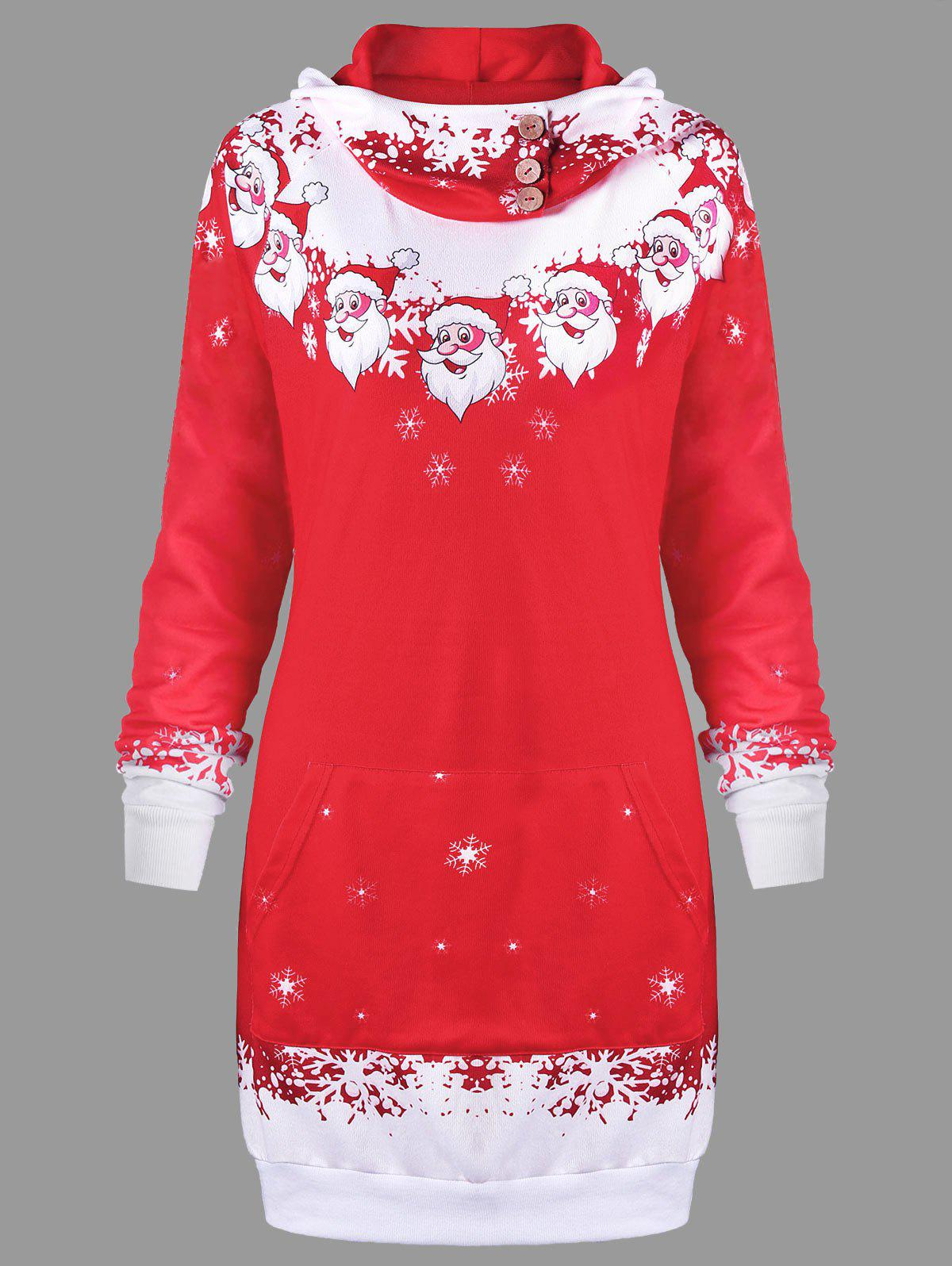 Christmas Santa Claus Print Hooded DressWOMEN<br><br>Size: L; Color: RED; Style: Casual; Material: Polyester; Silhouette: Shift; Dresses Length: Mini; Neckline: Hooded; Sleeve Length: Long Sleeves; Embellishment: Button,Front Pocket; Pattern Type: Character; With Belt: No; Season: Fall,Spring,Winter; Weight: 0.4000kg; Package Contents: 1 x Dress; Occasion: Casual;
