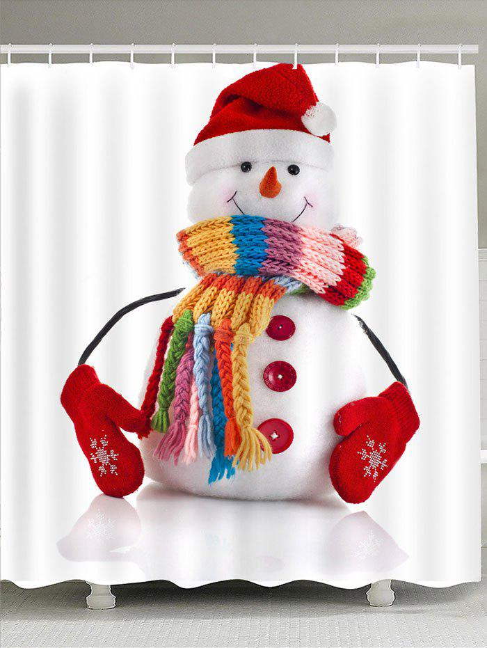 Outfits Waterproof Red Hat Snowman Printed Shower Curtain