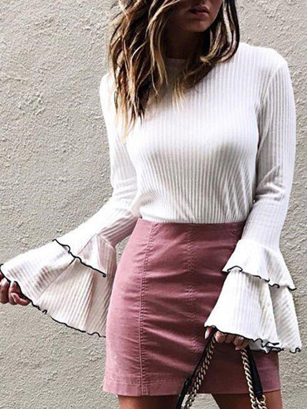 Affordable Layered Flare Sleeve Ribbed T-shirt