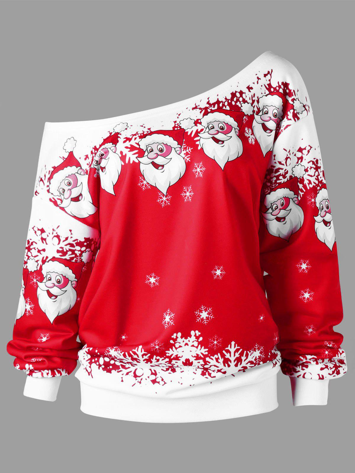 Christmas Plus Size Skew Collar Santa Claus SweatshirtWOMEN<br><br>Size: 2XL; Color: RED WITH WHITE; Material: Polyester,Spandex; Shirt Length: Regular; Sleeve Length: Full; Style: Casual; Pattern Style: Character; Season: Fall,Spring; Weight: 0.5000kg; Package Contents: 1 x Sweatshirt;