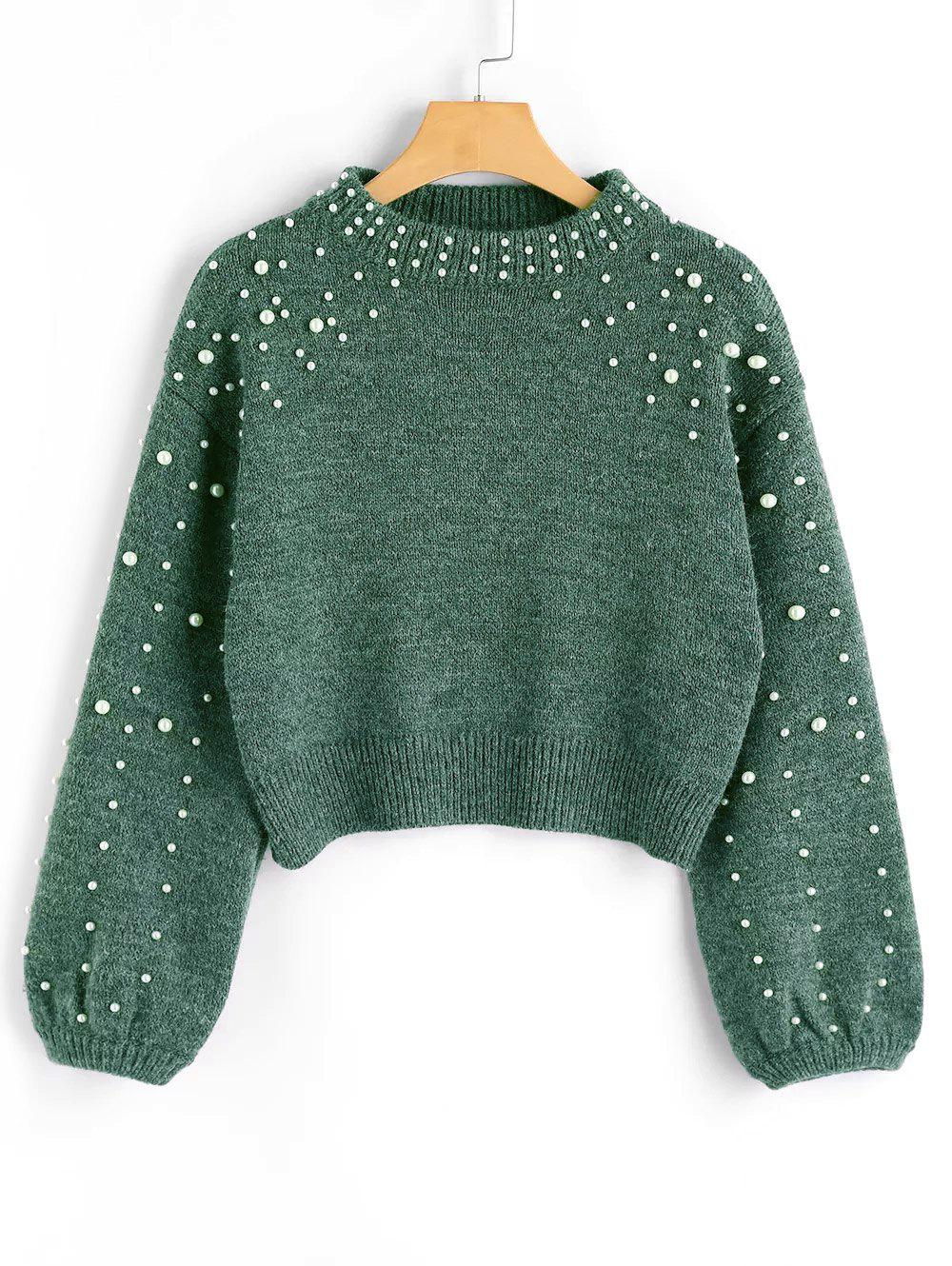 Hot Mock Neck Faux Pearl Sweater