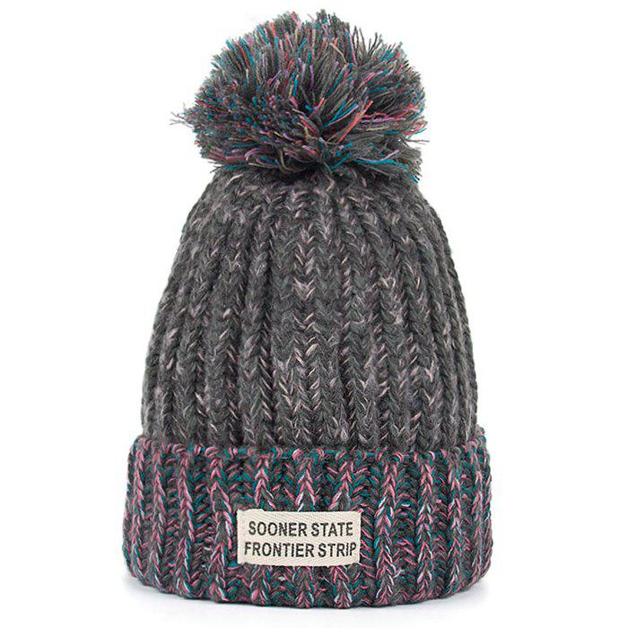 Hot Letter Label Embellished Flanging Knitted Pom Beanie