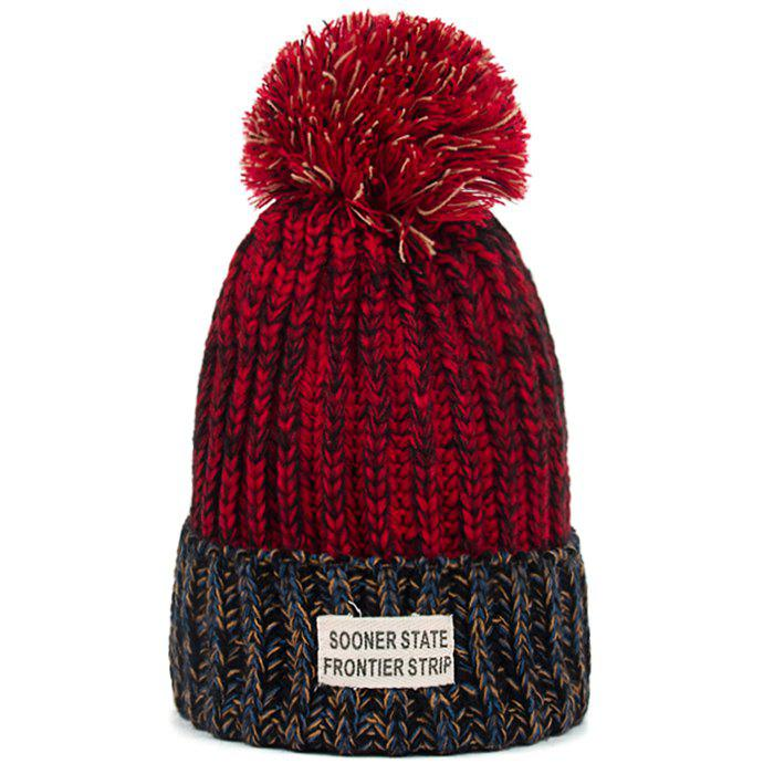 Trendy Letter Label Embellished Flanging Knitted Pom Beanie