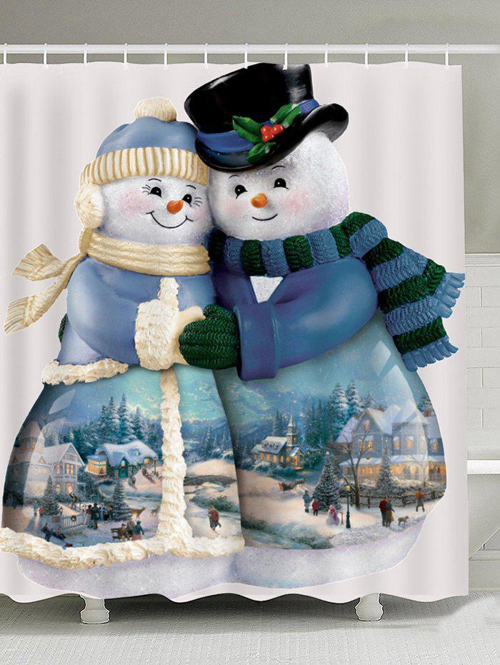 Waterproof Snowman Couples Printed Shower CurtainHOME<br><br>Size: W71 INCH * L79 INCH; Color: COLORFUL; Products Type: Shower Curtains; Materials: Polyester; Pattern: Snowman; Style: Festival; Number of Hook Holes: W59 inch*L71 inch: 10; W71 inch*L71 inch: 12; W71 inch*L79 inch: 12; Package Contents: 1 x Shower Curtain 1 x Hooks (Set);
