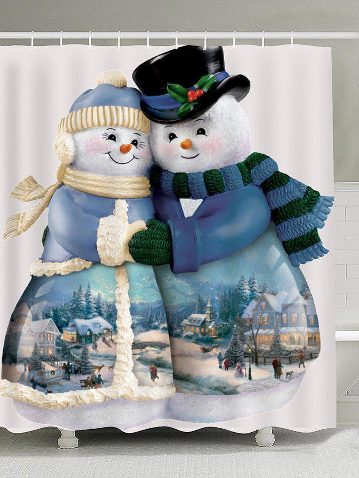 Discount Waterproof Snowman Couples Printed Shower Curtain