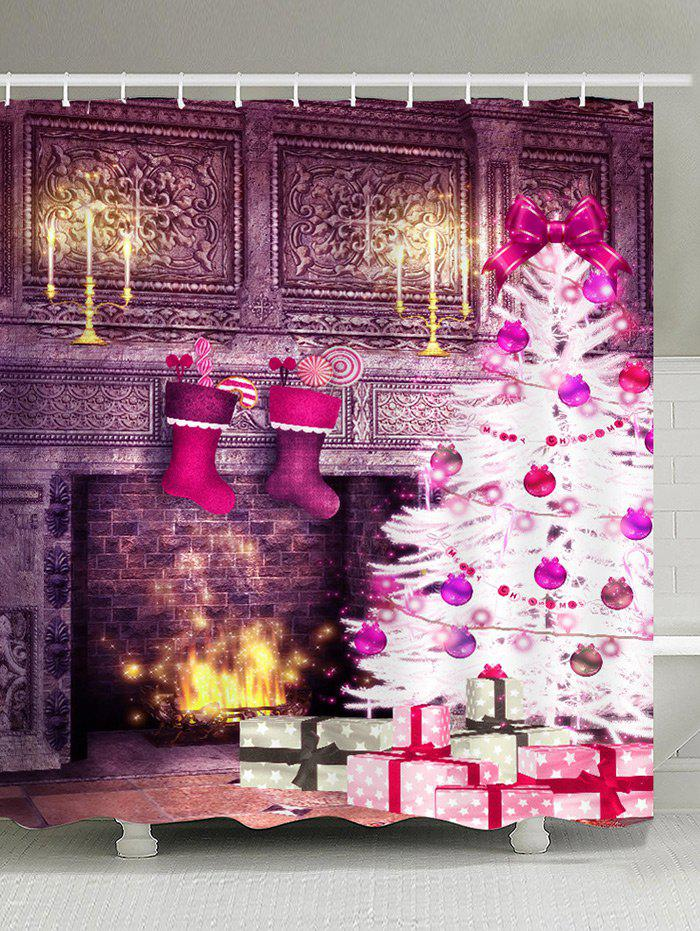 Image of Waterproof Christmas Fireplace and Tree Printed Shower Curtain