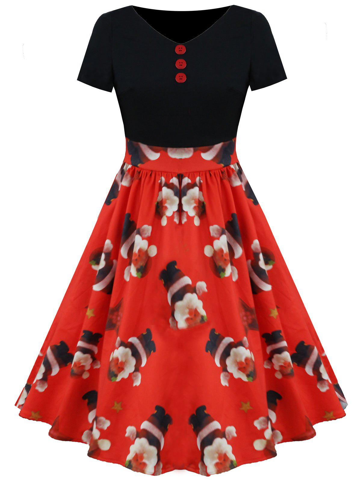 Fancy Christmas Santa and Star Print Vintage Dress