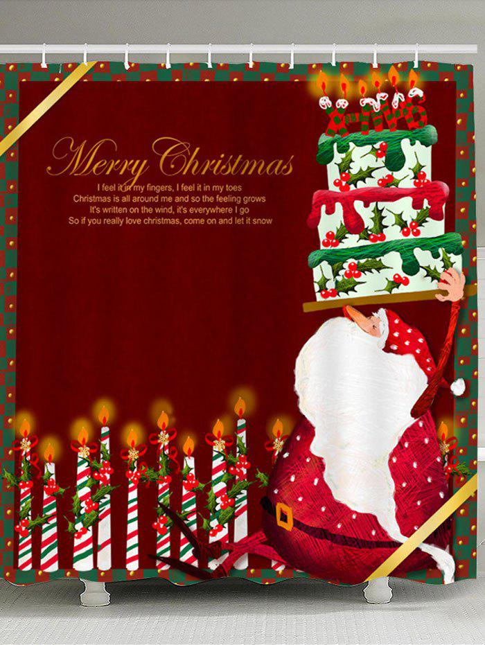 Latest Santa Claus Cake And Candles Patterned Shower Curtain