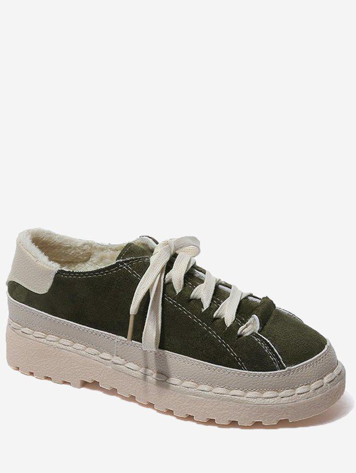 Shops Lace Up Contrasting Color Whipstitch Casual Shoes