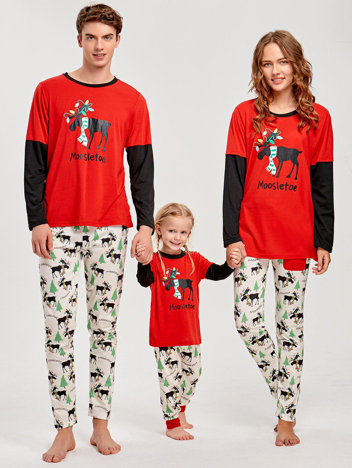 Elk Print Long Sleeve Matching Family Christmas PajamaWOMEN<br><br>Size: DAD L; Color: RED; Material: Polyester,Spandex; Pattern Type: Character; Weight: 0.4500kg; Package Contents: 1 x T-shirt  1 x Pants;