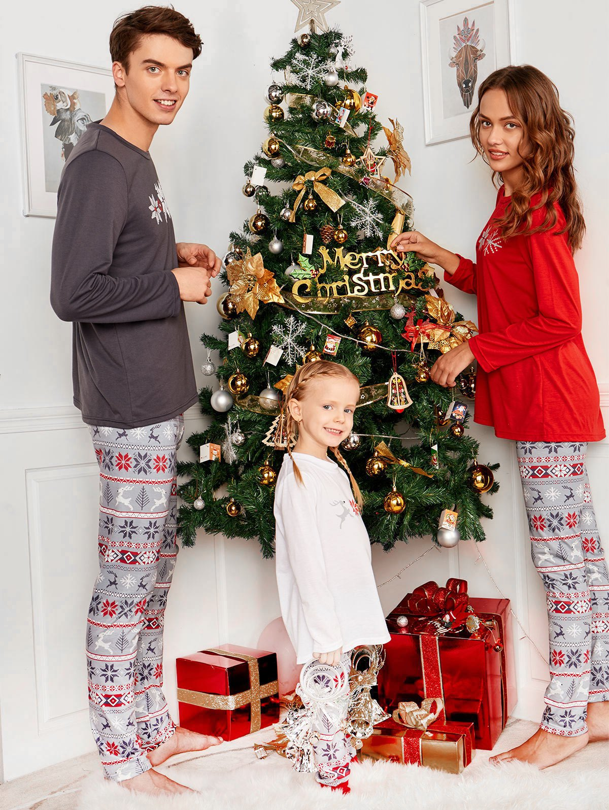 Unique Snowflake Print Long Sleeve Matching Family Christmas Pajama