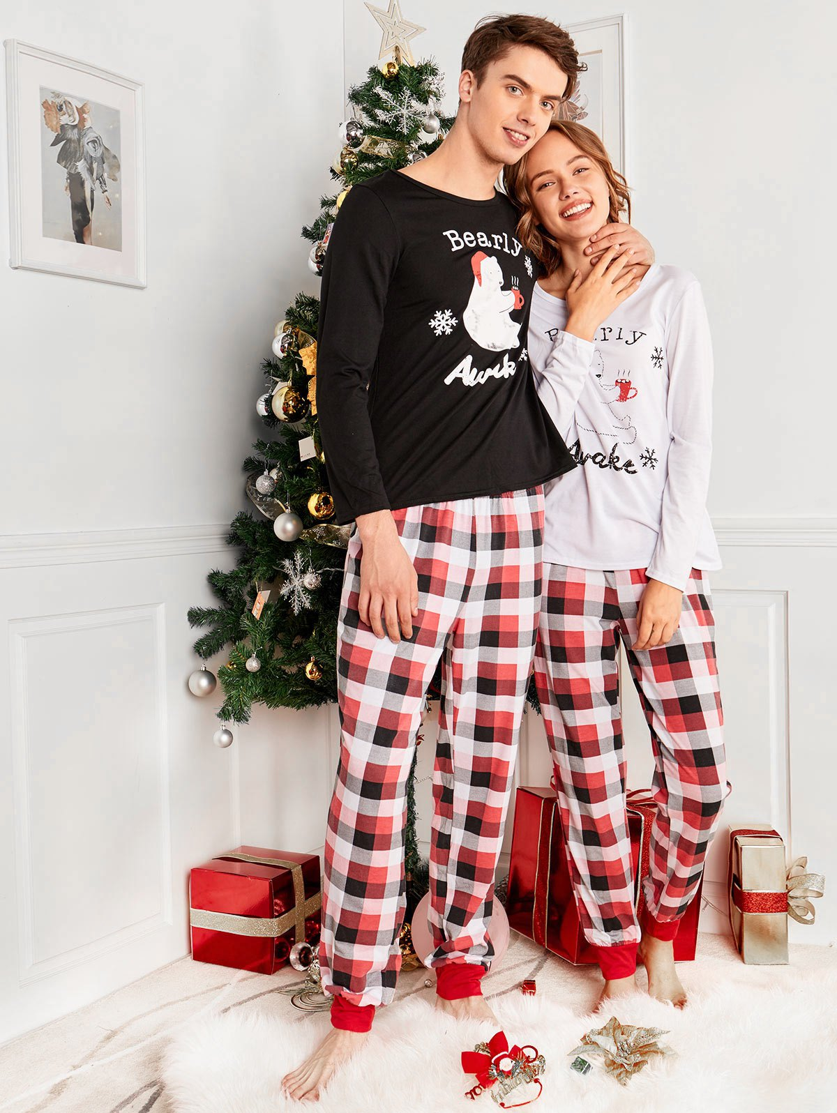 edc550715a90 2019 Bear Plaid Family Christmas Pajama Set