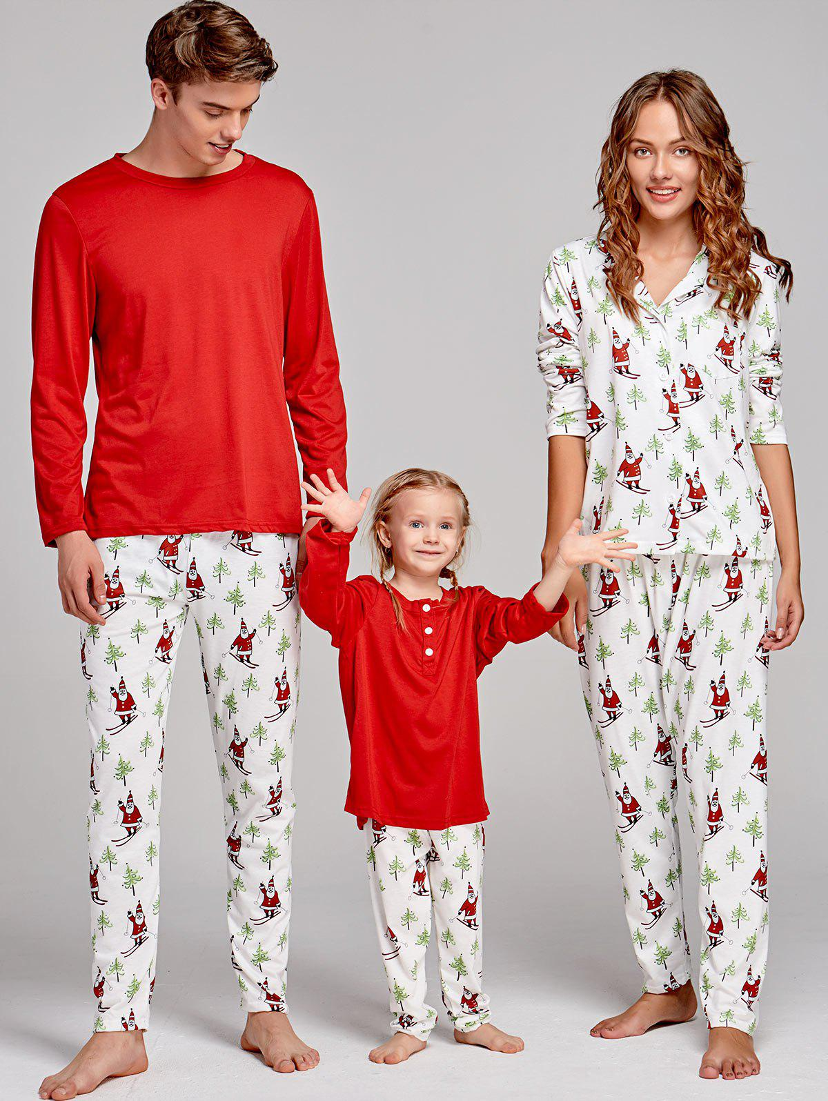 Santa Claus Printed Family Christmas Pajama SuitWOMEN<br><br>Size: DAD S; Color: RED; Material: Cotton,Polyester; Pattern Type: Print; Weight: 0.4000kg; Package Contents: 1 x T-shirt 1 x Pants;