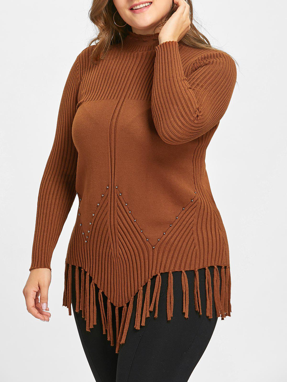 Hot Plus Size Fringed Ribbed High Neck Sweater